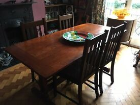 Refectory table plus 4 dining chairs