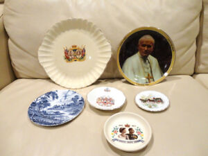 6 Vintage Saucers & Plates -The Queen, The Pope, Diana, Misc