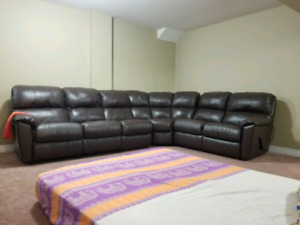 Custom Leather Sectional Sofa with Recliner