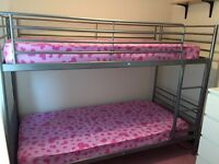 Silver Frame Bunk Bed with 2x Mattress