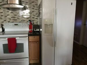 GE Profile stove and refrigerator