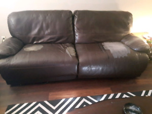 Double recliner leather couch