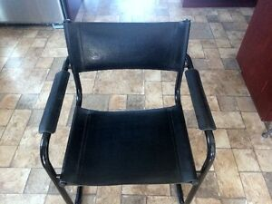 Modern leather and metal chairs
