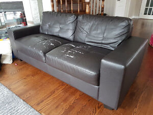 sofa dark brown.