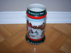 Budweiser 1991 Clydesdales Holiday Beer Stein - The Seasons Bes