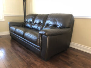 Black leather 3-seat couch/sofa