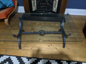 Coffee table tempered glass top steel frame