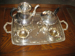 VINTAGE - 5 PIECES SILVER TEA SERVICE MALBORO PLATE OLD ENGLISH
