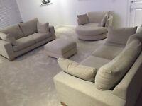 Beautiful Next Sonoma Upholstered Light Beige Sofa Suite