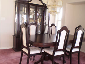 Dining table with matching hutch