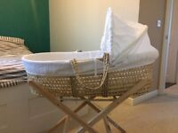 REDUCED CLAIR DE LUNE MOSES BASKET AND STAND