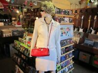 Ladies Size XS DANIER White Leather Jacket & Skirt Ensemble