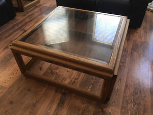 AMAZING: Solid Oak/Glass Coffee Table & Matching Side Tables
