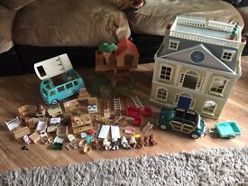 Sylvianian families bundle- grand hotel, tree house, car, camper van and more