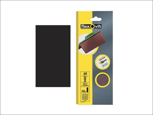 Flexovit - 1/3 Sanding Sheets 93 x 230mm Plain Medium 80g (10)