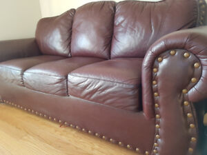 Timeless  burgundy leather  couch  1-3 set