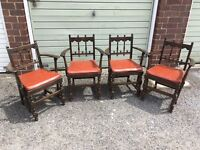 4 Rare ornate ERCOL low back carver chairs SALE!!! £70