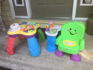 Fisher Price.   Activity Table and  Read & Play Chair