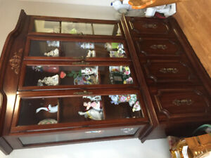Cherry wood dining buffet and hutch