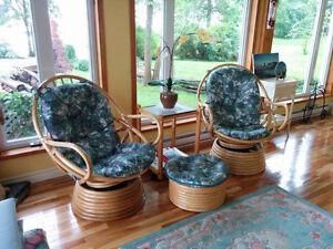 fauteuils Bambou et Rotin incluant  repose pied