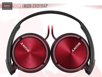 Sony MDR-ZX310AP Foldable Headphones with Smartphone Mic and Control RED