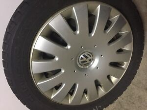 "Attn Volkswagon Drivers: 4 16"" snowtires with rims and VW hubcap St. John's Newfoundland image 1"
