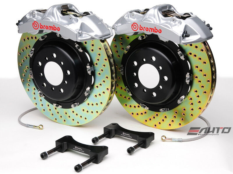 Brembo Front Gt Brake Bbk 6pot Silver 380x32 2pc Drill Disc Rotor Mustang 05-13