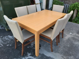 Dining Table & Chairs -Italian Made Ivory Leather & Wood Chairs & Easy