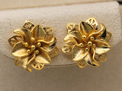 (18K Gold Filled - Flower Hollow 2-Layer Rivets Bridal Party Lady Stud Earrings)