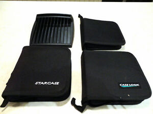 2 Like New Zippered CD / DVD Cases & One car CD /DVD Case Holder