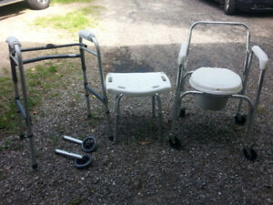 Walker, commode chair, bath seat set