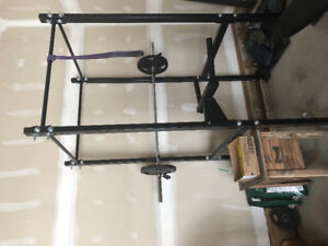 Workout cage with squat rack and dip bar