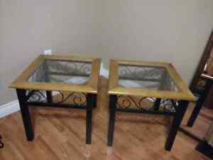 Vintage Rustic Black /Green Speckled Wood & Glass End Tables