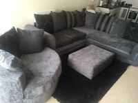 Large corner sofa cuddle chair and foot stool