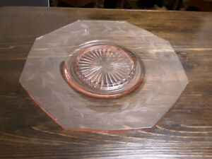 PINK ETCHED DEPRESSIOIN GLASS SERVING PLATE