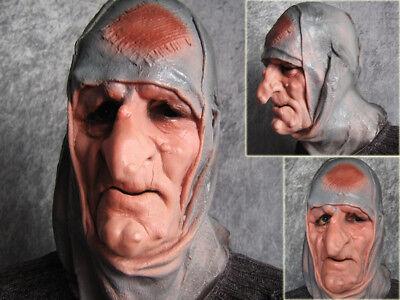 Latexmaske ALTE FRAU, HEXE - Horror Effekt Gummi Zombie Vampir FX Latex Maske