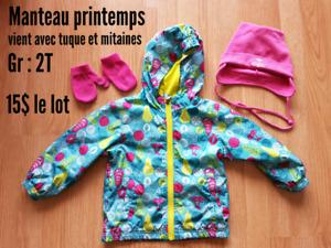 Manteau de printemps fille 2T