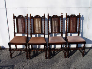 Set of Four Oak Spool Dining Chairs (New Price)