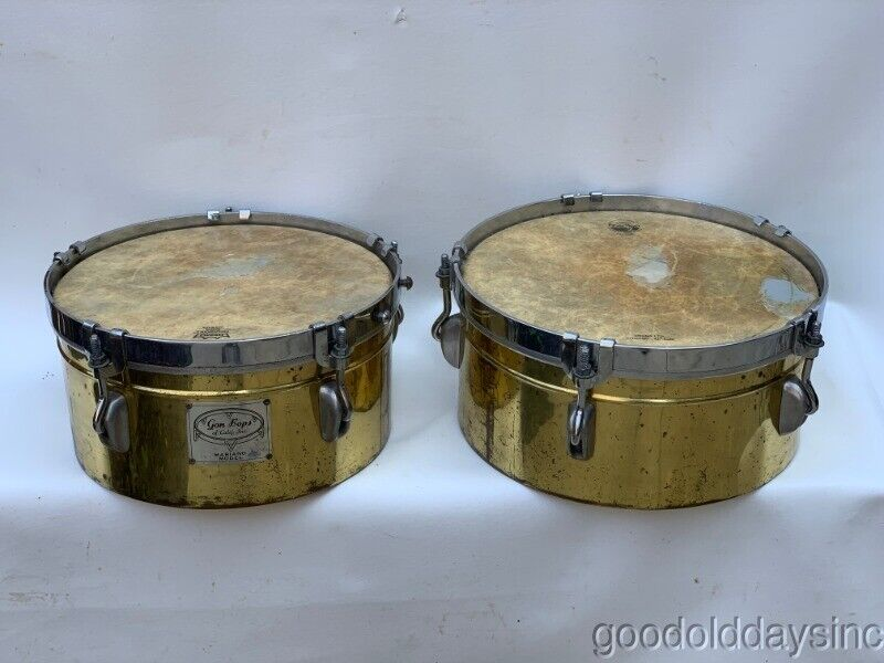 2 Vintage Gon Bops Drums Brass Colored Gom Bops of Calif Inc. Mariano Model Drum