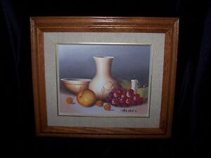 OIL PAINTING,SIGNED GRAPES,APPLES & CANDLE