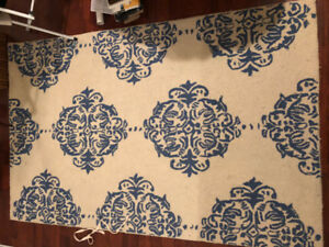 Blue and white area rug