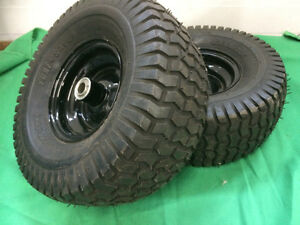 2 15 x 6.00-6 TURF TIRES ON RIMS WITH BEARINGS