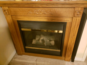 Gas Fireplace w/ Red Oak frame