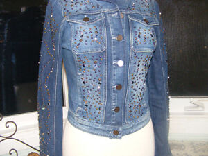 Guess Rhinestone and Studded Jean Jacket
