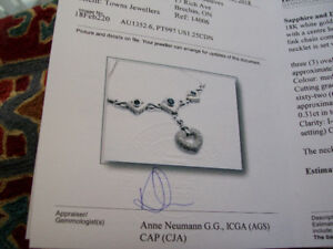 18 KT. WG DIAMOND AND SAPPHIRE NECKLACE & EARRINGS / 35 GRAMS