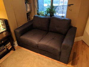 Blue-grey loveseat couch