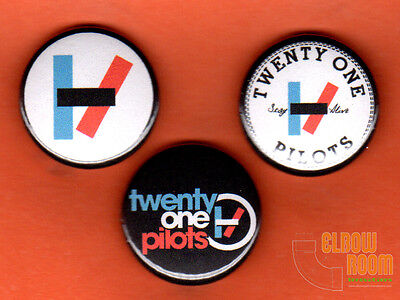 "Set of three 1"" Twenty One Pilots pins buttons 21 band blurryface alternative"