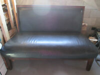 Wood and leather material bench