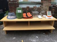 Hat, metal organiser, electricity monitor to stand all going for free