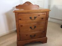 Solid pine bedside cabinet and head board